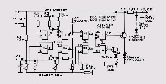 Схема сетевого индикатора на светодиоде: https://xcschemenw.appspot.com/shema-setevogo-indikatora-na-svetodiode.html